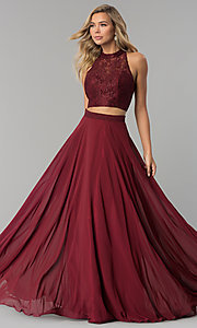 Image of long two-piece chiffon prom dress with lace top. Style: CLA-3427 Detail Image 1