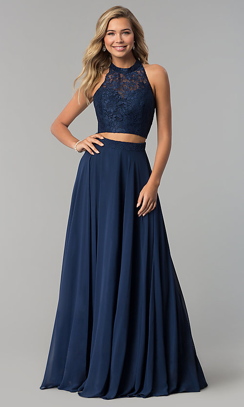 8a565b98e2a Image of long two-piece chiffon prom dress with lace top. Style  CLA