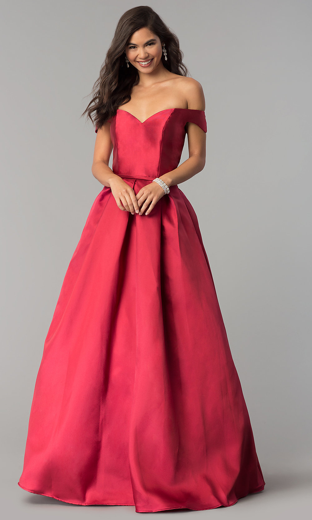 4c6e5bfbcabb Tap to expand · Image of off-the-shoulder long a-line prom dress.