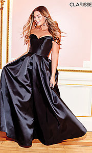 Image of off-the-shoulder long a-line prom dress. Style: CLA-3442 Detail Image 5