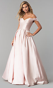 Image of off-the-shoulder long a-line prom dress. Style: CLA-3442 Detail Image 2