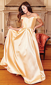 Image of off-the-shoulder long a-line prom dress. Style: CLA-3442 Detail Image 7