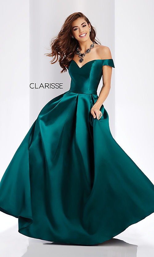 Image of off-the-shoulder long a-line prom dress. Style: CLA-3442 Detail Image 6