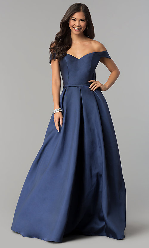Image of off-the-shoulder long a-line prom dress. Style: CLA-3442 Detail Image 3
