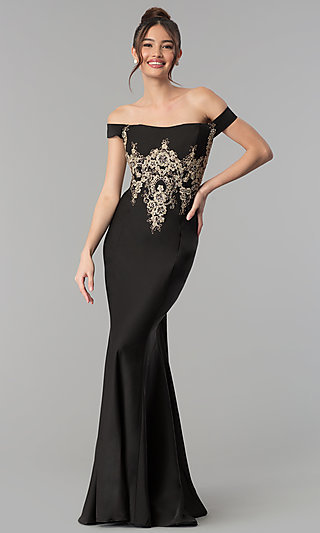 Long Off-the-Shoulder Beaded Clarisse Prom Dress