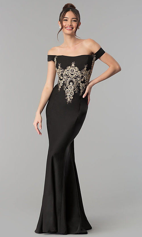 Image of long off-the-shoulder beaded Clarisse prom dress. Style: CLA-3452 Front Image