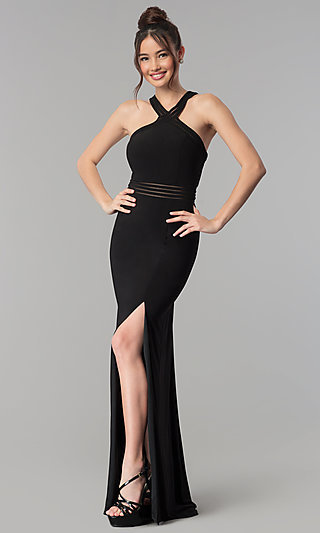 High-Neck Open-Back Illusion Clarisse Prom Dress
