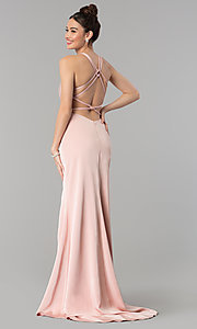 Image of long open-back v-neck prom dress with ruching. Style: CLA-3456 Back Image