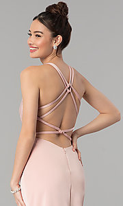 Image of long open-back v-neck prom dress with ruching. Style: CLA-3456 Detail Image 2