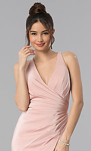 Image of long open-back v-neck prom dress with ruching. Style: CLA-3456 Detail Image 1