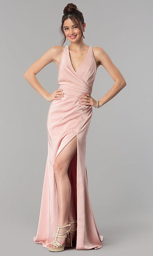 Image of long open-back v-neck prom dress with ruching. Style: CLA-3456 Detail Image 3