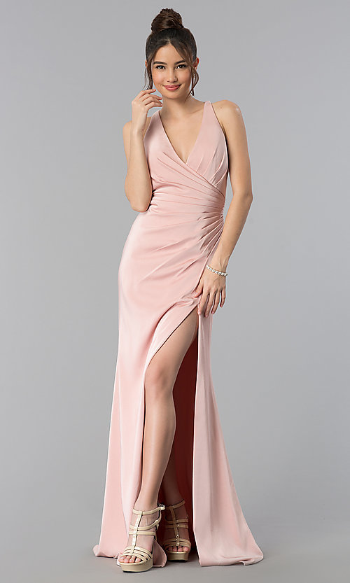 Image of long open-back v-neck prom dress with ruching. Style: CLA-3456 Front Image