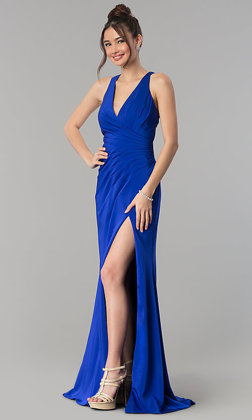 Image of long open-back v-neck prom dress with ruching. Style: CLA-3456 Detail Image 4