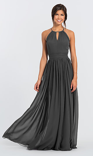 High-Neck Long Chiffon #LEVKOFF Bridesmaid Dress