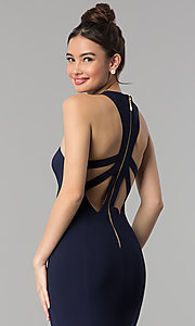 Image of sweetheart long prom dress with back cut outs. Style: CLA-3458 Detail Image 1