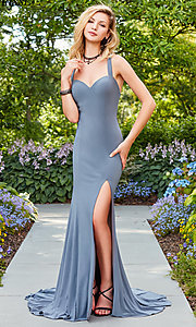 Image of sweetheart long prom dress with back cut outs. Style: CLA-3458 Detail Image 3