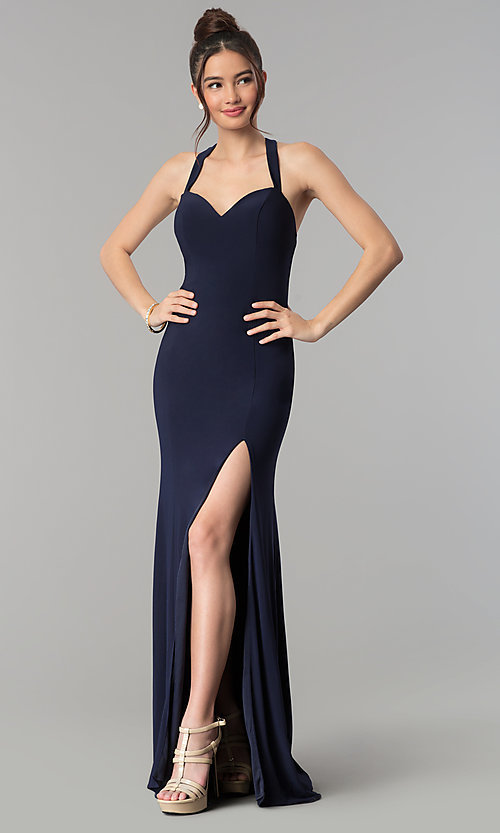 Image of sweetheart long prom dress with back cut outs. Style: CLA-3458 Back Image