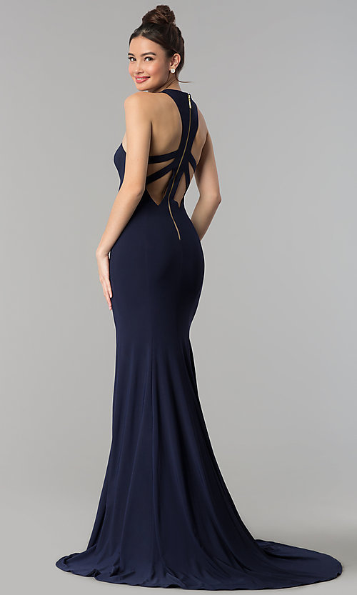 Image of sweetheart long prom dress with back cut outs. Style: CLA-3458 Front Image