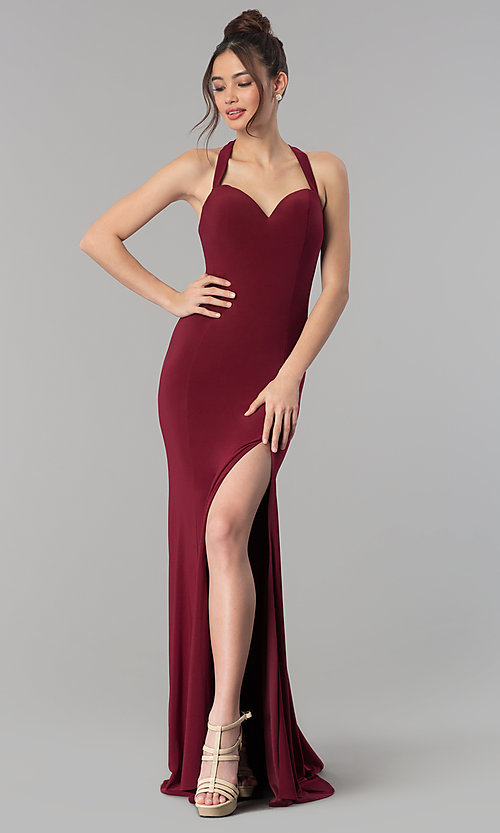 Image of sweetheart long prom dress with back cut outs. Style: CLA-3458 Detail Image 2