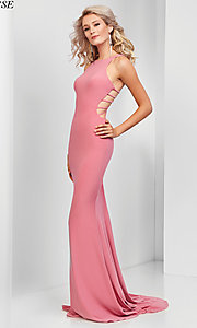 Image of cut-out open-back long sleeveless prom dress. Style: CLA-3459 Detail Image 3