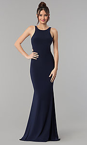 Image of cut-out open-back long sleeveless prom dress. Style: CLA-3459 Back Image