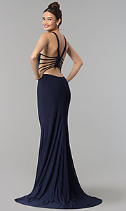 Image of cut-out open-back long sleeveless prom dress. Style: CLA-3459 Front Image