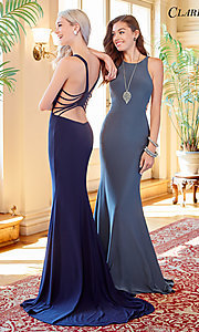 Image of cut-out open-back long sleeveless prom dress. Style: CLA-3459 Detail Image 2