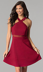 Image of short a-line Emerald Sundae burgundy red party dress. Style: EM-FGQ-1027-610 Front Image