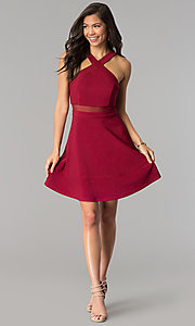 Image of short a-line Emerald Sundae burgundy red party dress. Style: EM-FGQ-1027-610 Detail Image 2