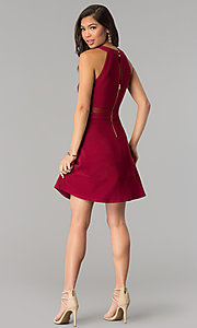 Image of short a-line Emerald Sundae burgundy red party dress. Style: EM-FGQ-1027-610 Detail Image 3