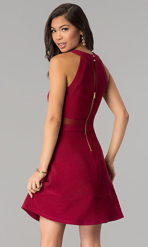 Image of short a-line Emerald Sundae burgundy red party dress. Style: EM-FGQ-1027-610 Back Image