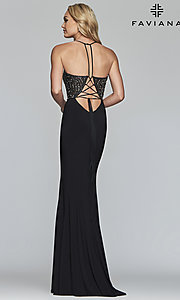 Image of long Faviana lace-up-back prom dress with beaded bodice. Style: FA-S10060 Detail Image 4