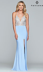 Image of long Faviana lace-up-back prom dress with beaded bodice. Style: FA-S10060 Detail Image 5