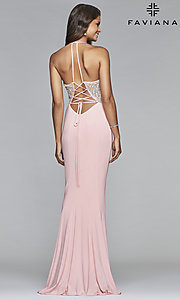 Image of long Faviana lace-up-back prom dress with beaded bodice. Style: FA-S10060 Back Image