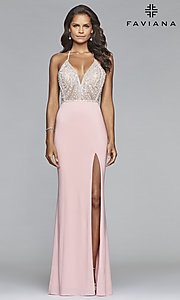 Image of long Faviana lace-up-back prom dress with beaded bodice. Style: FA-S10060 Detail Image 1