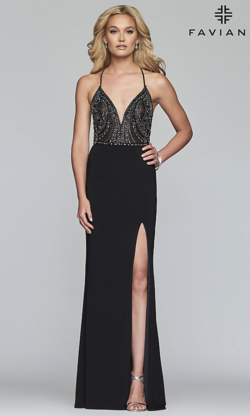 Image of long Faviana lace-up-back prom dress with beaded bodice. Style: FA-S10060 Detail Image 3