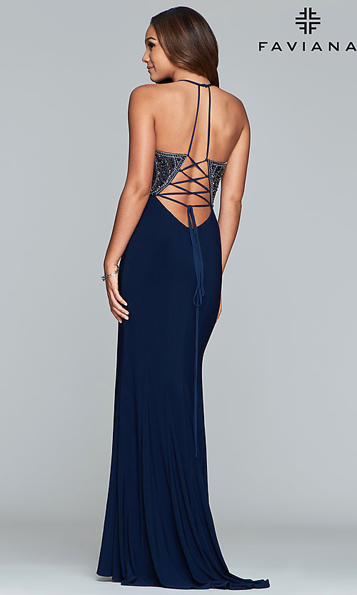 Image of long Faviana lace-up-back prom dress with beaded bodice. Style: FA-S10060 Detail Image 8