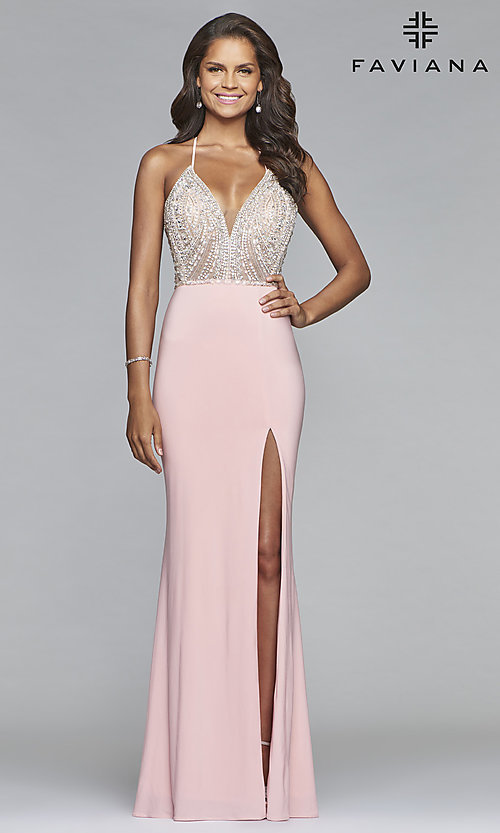 Image of long Faviana lace-up-back prom dress with beaded bodice. Style: FA-S10060 Front Image