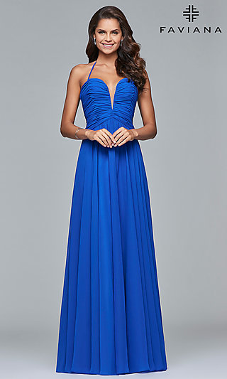 Long Faviana Halter Prom Dress with Corset Lace-Up Back