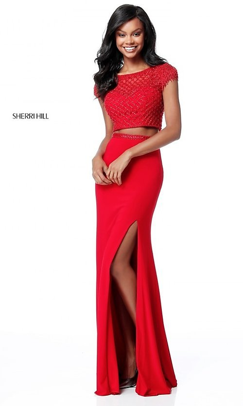 Image of two-piece beaded-top prom dress by Sherri Hill. Style: SH-51691 Front Image