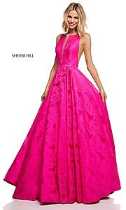 Image of long print illusion prom dress by Sherri Hill. Style: SH-51703 Detail Image 3