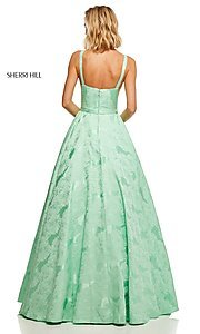 Image of long print illusion prom dress by Sherri Hill. Style: SH-51703 Detail Image 4