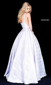 Image of long print illusion prom dress by Sherri Hill. Style: SH-51703 Back Image