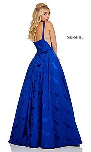 Image of long print illusion prom dress by Sherri Hill. Style: SH-51703 Detail Image 8