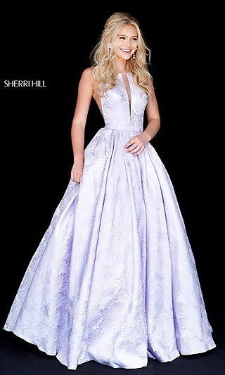 331a1c24c02 Long Print Illusion Prom Dress by Sherri Hill