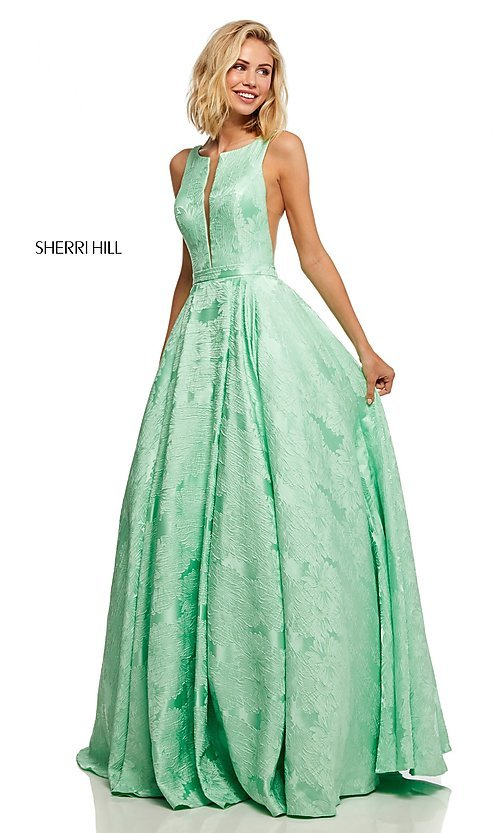 Image of long print illusion prom dress by Sherri Hill. Style: SH-51703 Detail Image 5