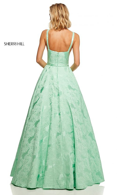 Image of long print illusion prom dress by Sherri Hill. Style: SH-51703 Detail Image 6