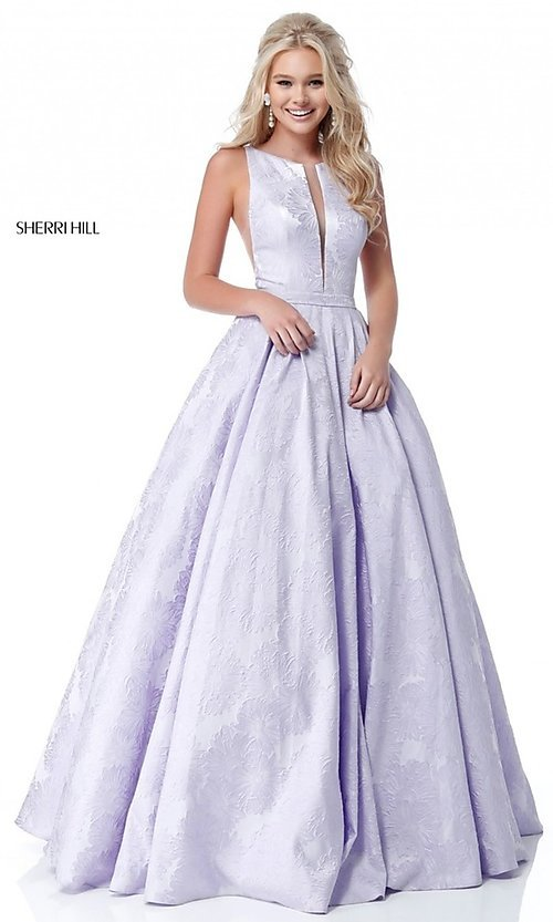 Image of long print illusion prom dress by Sherri Hill. Style: SH-51703 Detail Image 1