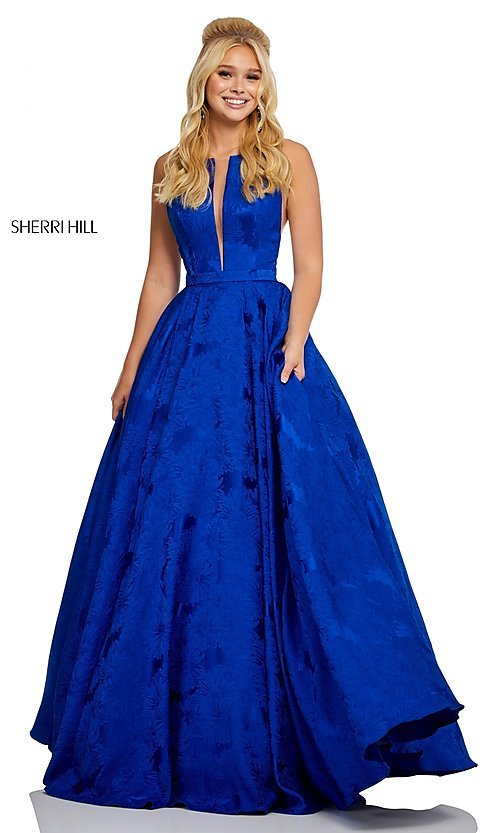 Image of long print illusion prom dress by Sherri Hill. Style: SH-51703 Detail Image 7