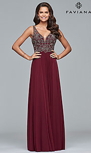 Image of long v-neck Faviana prom dress with beaded bodice. Style: FA-10017 Front Image